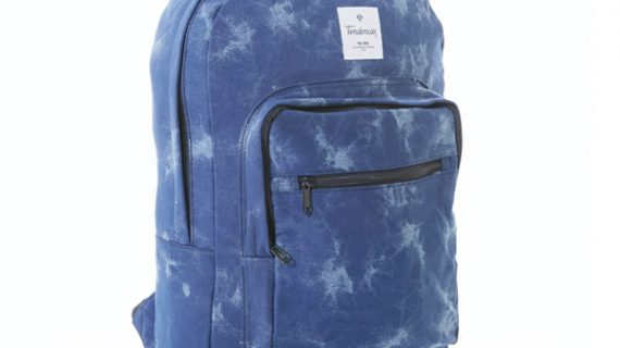 spotted blue school bag